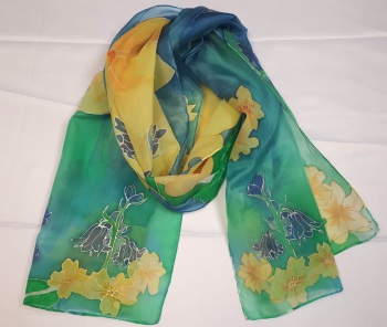 Hand painted primroses and bluebells  silk scarf 40x150cm