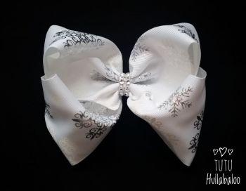 Snowflake White/Silver Mega Bow