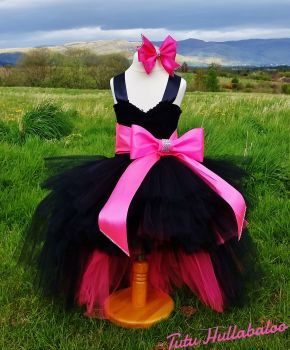 Big Bow Dress High-Low Black/Pink