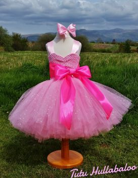 Big Bow Dress Knee High Pink