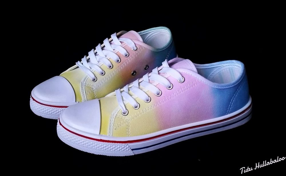 Yellow, Pink, Blue Shoes