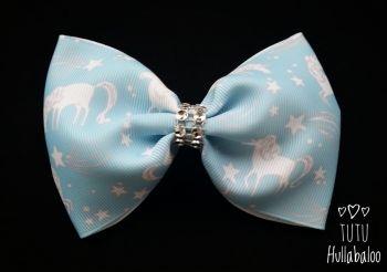 Unicorn Blue Tux Bow
