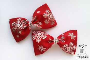 Snowflake Red/Silver Tux Bow