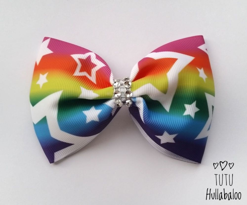 Rainbow with White Stars Tux Bow