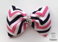 Zig-zag Pink/Navy  Tux Bow