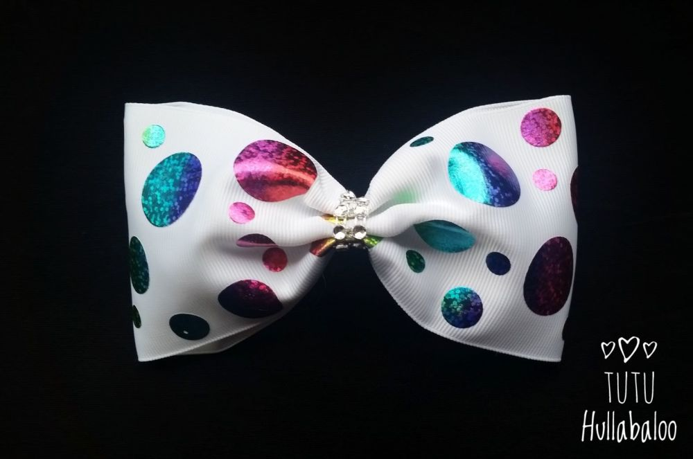 Rainbow Dots Tux Bow