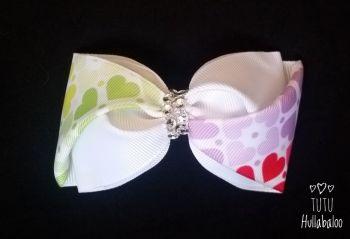 Rainbow Hearts Twisted Tux Bow
