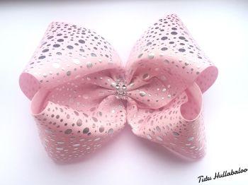 Silver Dots Pink Mega Bow