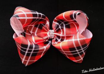 Tartan Mega Bow Red