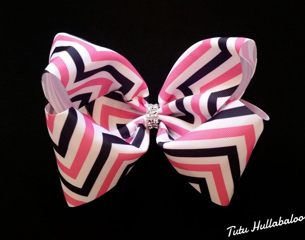 Pink/Navy Mega Bow