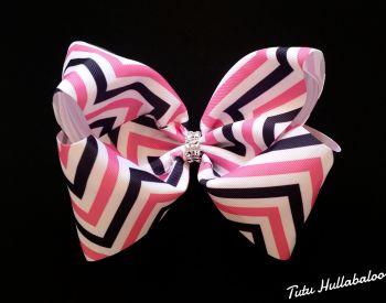 Zig-zag Pink/Navy  Mega Bow
