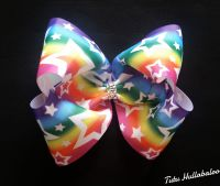 Rainbow with White Stars Mega Bow