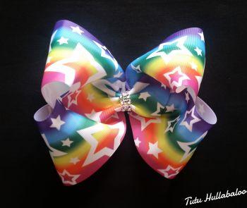 Rainbow with White Stars Mega Bow