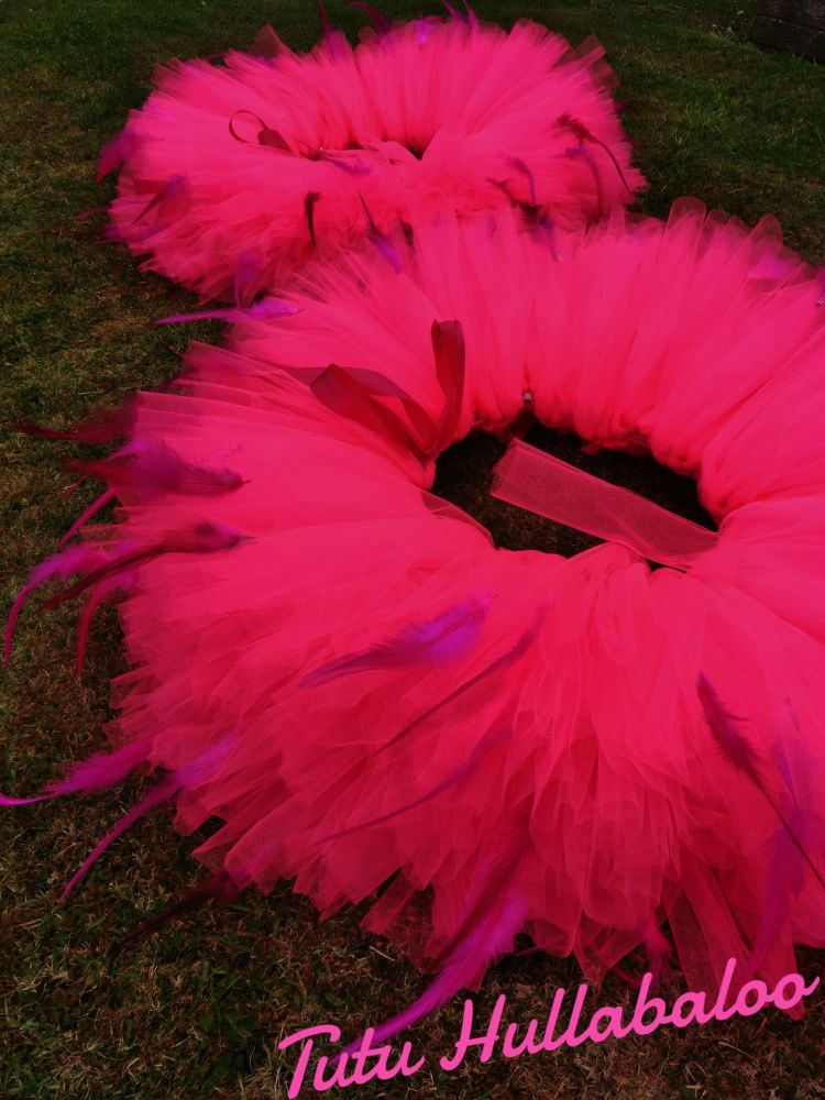 Neon Pink Tail Feathered Tutu
