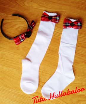 Tartan Red - Knee high sock set