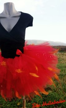 Fire Feathered Tail Tutu Red/Orange - Adult