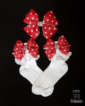 Dotty Red Double Tux - Fold over sock set