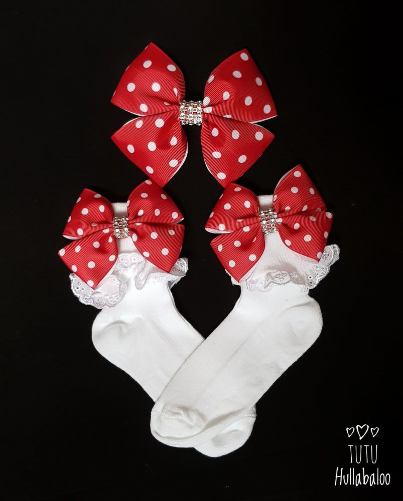 Double Tux Sock Set with Hair Bow