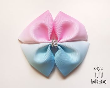 Ombre Pink/Blue Double Tux Bow