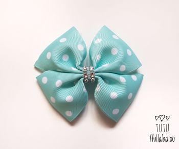 Dotty Aqua/White Double Tux Bow
