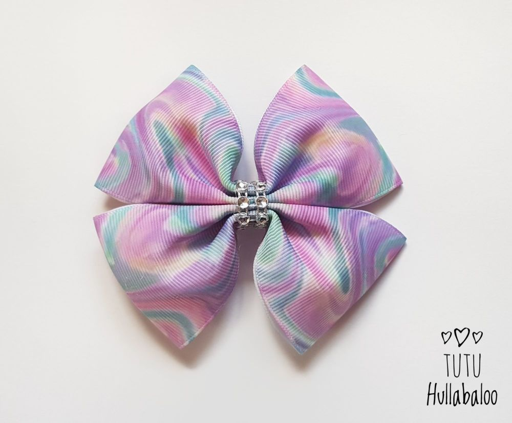 Pastel Swirls Double Tux Bow