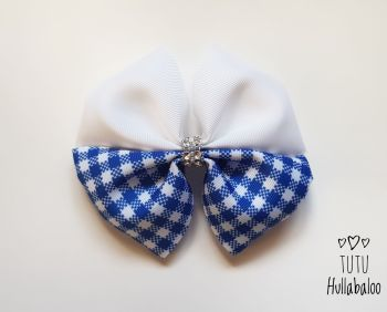 School Checked Blue Double Tux Bow