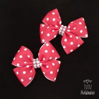 Dotty Red/White Double Tux Bow