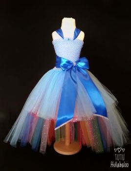 Big Bow Dress High-Low Blue/Rainbow