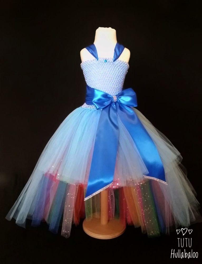High-Low Big Bow Dress Blue/Rainbow