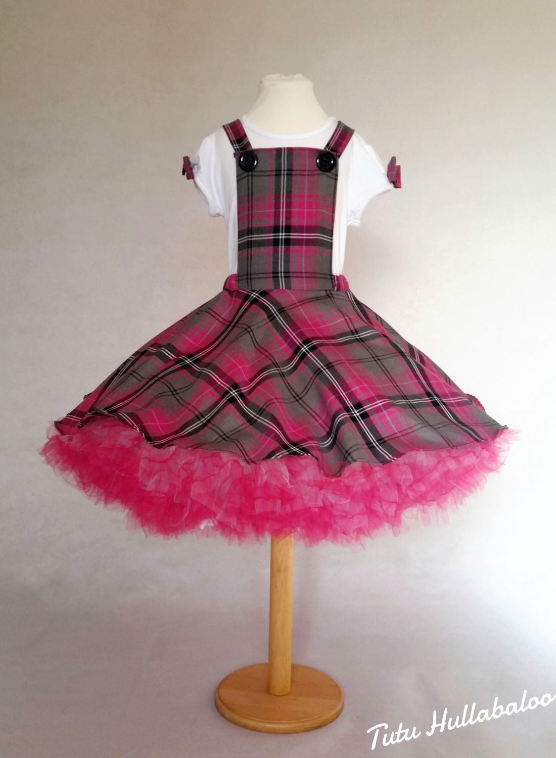 Tartan Pinafore Dress Pink