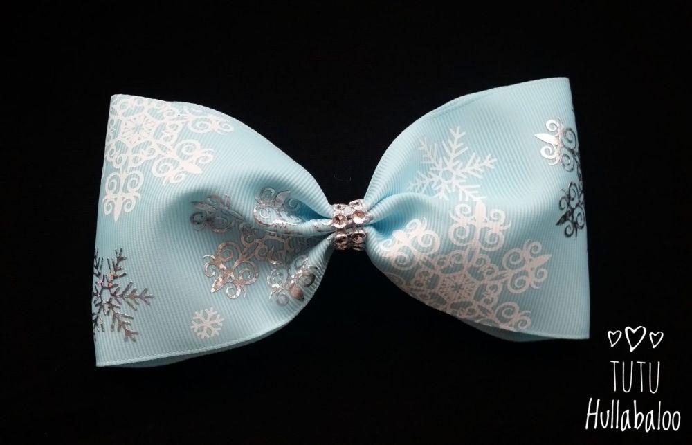 Snowflake Tux Bow Blue