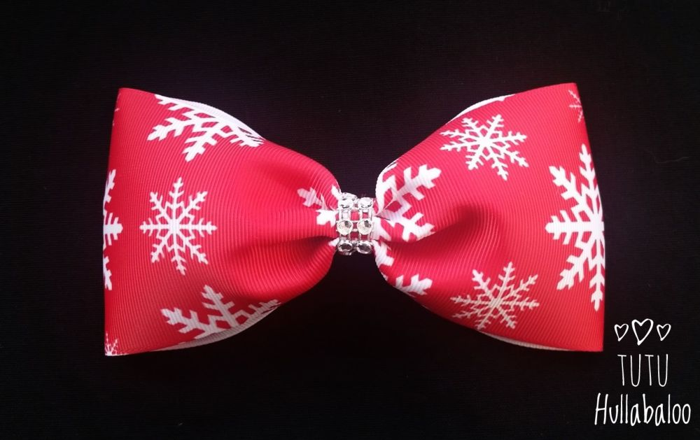 Snowflake Tux Bow Red/White