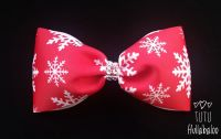 Snowflake Red/White Tux Bow