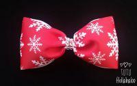 Snowflake Red/White Tux Bow