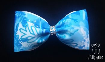 Crystal Snowflake Tux Bow Blue/White