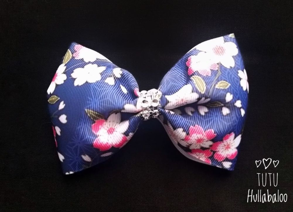 Flower Tux Bow Navy