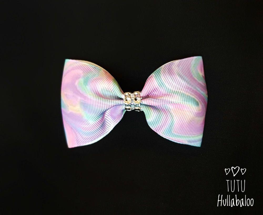 Pastel Swirls Tux Bow
