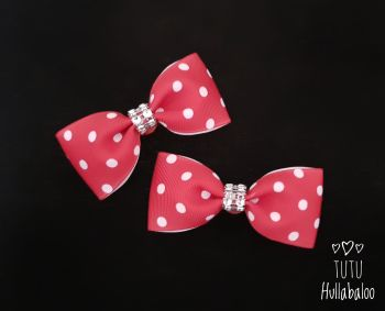 Dotty Red/White Tux Bow