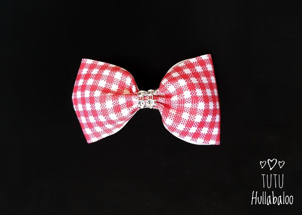 School Checked Tux Bow Red