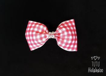 School Checked Red Tux Bow