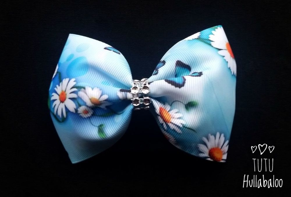 Flower Tux Bow Blue/Daisy/Butterfly