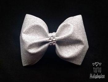 Glitter Tux Bow Silver