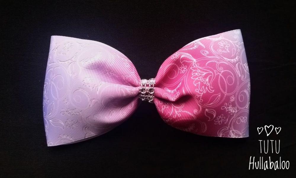 Swirls Tux Bow Lilac/Pink