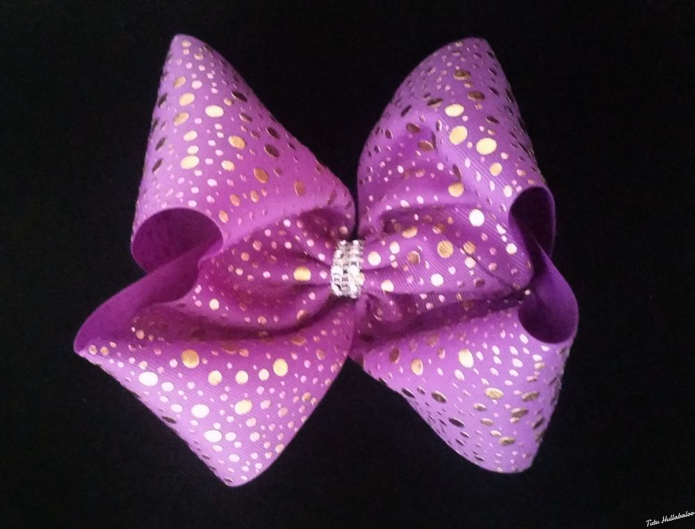 Gold Dots Mega Bow Purple