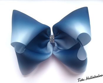 Ombre Navy/White Mega Bow