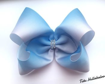 Ombre Light Blue/White Mega Bow