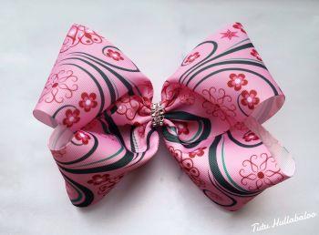 Floral Swirls Mega Bow Pink