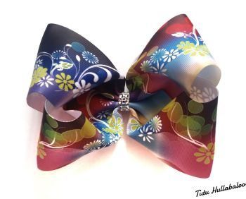 Floral Swirls Mega Bow Rainbow