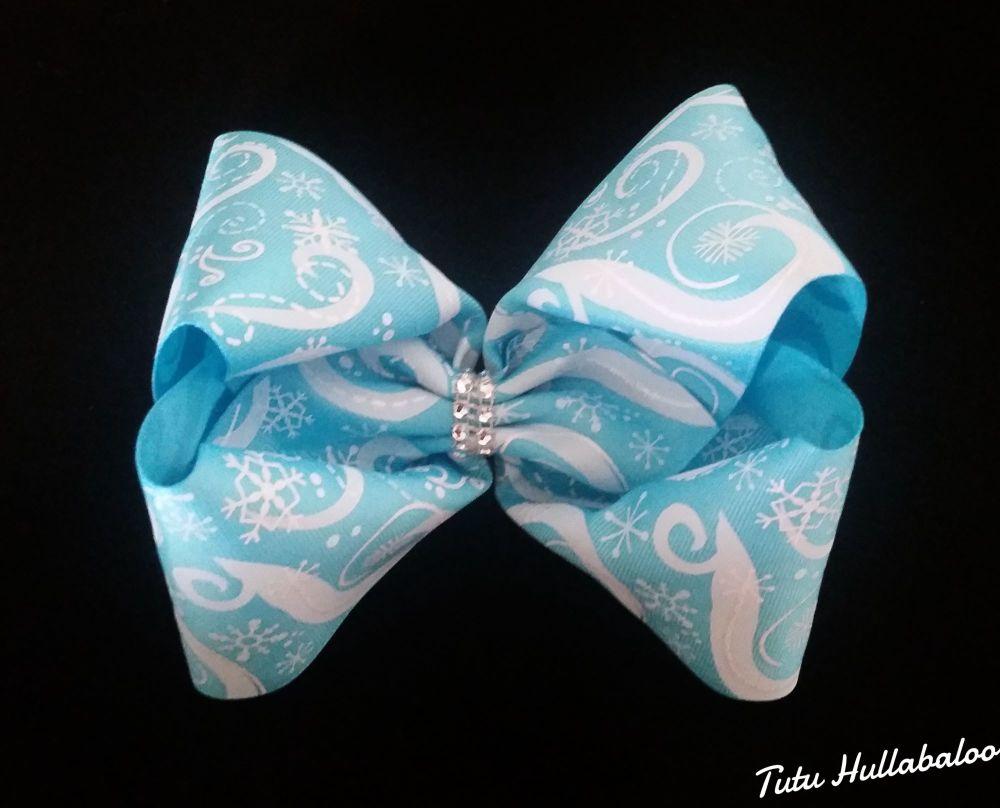 Snowflake Swirls Mega Bow Turquoise/White