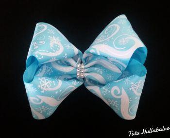 Snowflake Swirls Turquoise/White Mega Bow